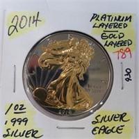 2014 Platinum & Gold Layered 1oz Silver .999 Eagle