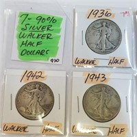 7 1936-1945 90% Silver Walking Liberty Half Dollar