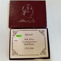 1982-S Proof George Washington Half Dollar & Box