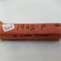 (50) 1942-P Wheat Pennies Cents Roll