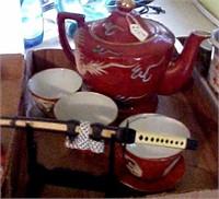 Rust Dragonware Tea Set