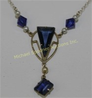9K GOLD ART DECO BLUE STONE & PEARL NECKLACE