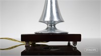 Metal Table Lamp With Wooden Base
