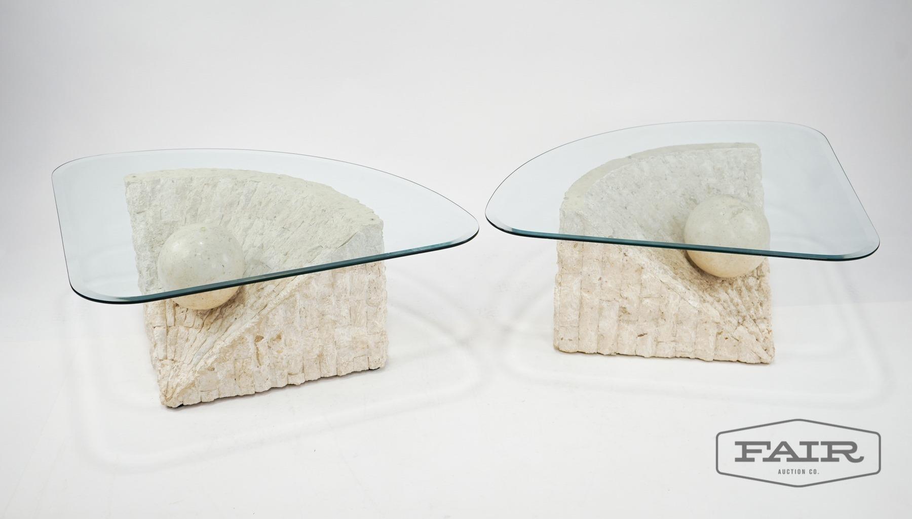 Pair Of Mactan Stone Glass Coffee Tables Fair Auction Company Llc