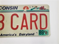 1989 BB CARD Wisconsin Liscence Plate