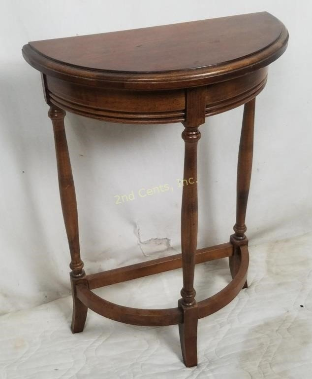 Brandt Small Dark Wood Half Moon Entry Table 2nd Cents Inc