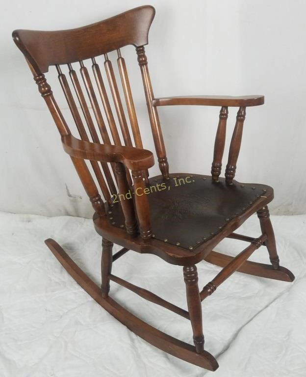Tremendous Antique Rocking Chair Ornate Leather Griffin Seat 2Nd Cjindustries Chair Design For Home Cjindustriesco