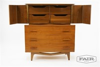 Walnut Tall Dresser with Vaulted Pulls