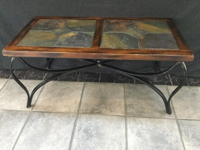 Iron Wood Slate Top Coffee Table Triple Seven Auctions