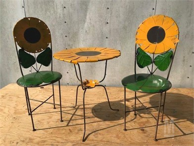 METAL SUNFLOWER TABLE AND (2) CHAIRS Other Items For Sale