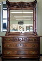 Victorian Styled Double Dresser & Attached Mirror