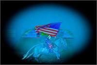 Girl on Horse w/ American Flag