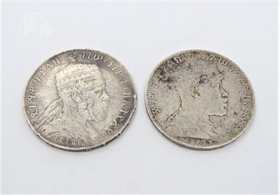 Ethiopia 1888A And 1895 Silver Birr Other Items For Sale In