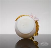 Bohemian European Glass Vase w/ Floral Design