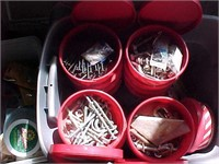Tub of Hardware in Smaller Red Tubs