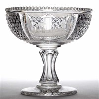 Rare 19th-century cut glass railroad presentation compote bearing an engraved image of a locomotive