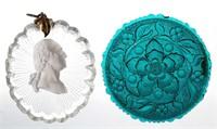 Bacarrat George Washington sulphide plaque and XR Lee/Rose No. 227-B cup plate