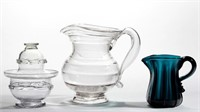 Rare blown tableware including a Thomas Cains diminutive sugar bowl and cover