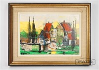 Original Painting of Colorful Town Scene