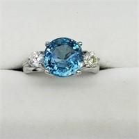 10K WHITE GOLD GENUINE RARE BLUE ZIRCON RING