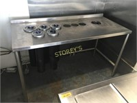 All S/S Welded Table w/ 5 Cup Dispensers - 62 x 28