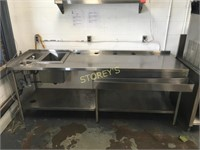 """92"""" All S/S Welded Table w/ Ice Cream Rinse, 2"""