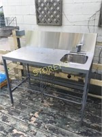 "S/S Table w/ hand Sink & 11"" Backsplash - 50x24x36"