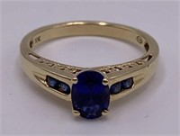 10k Gold And Sapphire Ladies Ring