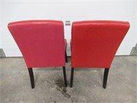 (2) Red Vinyl Side Chairs