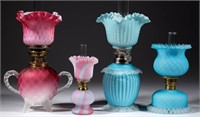 Many fine satin miniature lamps from the Lynch collection