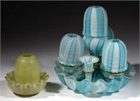 many Nailsea and other art glass fairy lamps - Scott collection
