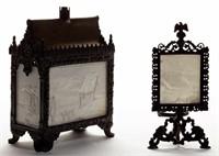 Many lithopane lamps - Scott collection