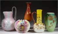 Fine examples of satin glass including Phoenix and Webb - Teague collection