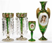 Fine Bohemian glass with portraits - Teague collection