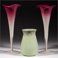 Mt. Washington Peachblow and New England Glass Co. Green Opaque art glass