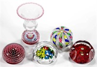 Selection of antique and contemporary paperweights