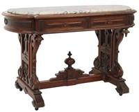 Walnut Marble Top Partners Desk