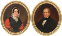 Pair of Hand Painted Oval Portraits on Canvas