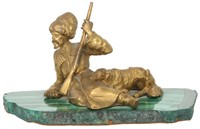 Russian Bronze of Cossack and His Dog