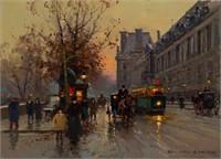 Edouard Leon Cortes (1882-1969) Paris street scene