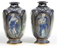 "Pair of French porcelain vases, signed ""E. Rousseau"" to underside of base"