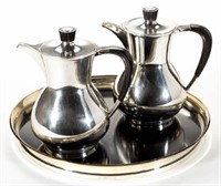 Gorham modernist sterling coffeepots/cocktail pitchers with tray