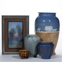 Good selection of American art pottery, including Newcomb, Rookwood, George Ohr, and Pisgah Forest
