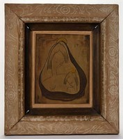 Angel Botello (1913-1986) abstract Madonna and child in original carved frame