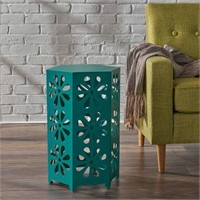 MATTE TEAL IRON FLORAL SIDE TABLE 2FT TALL