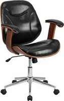 MID BACK BLACK LEATHER CHAIR (NOT ASSEMBLED)
