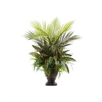 MIXED ARECA PALM, FERN & PEACOCK W/ PLANTER 27""