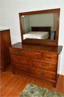 Bedroom Suite,Aged Walnut,solid. Bed is double or