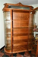 Tiger Oak, Curved Front, Dish Cupboard
