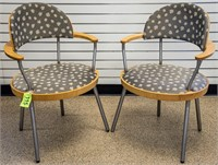 Pair of Knoll Upholstered Modern Arm Chairs